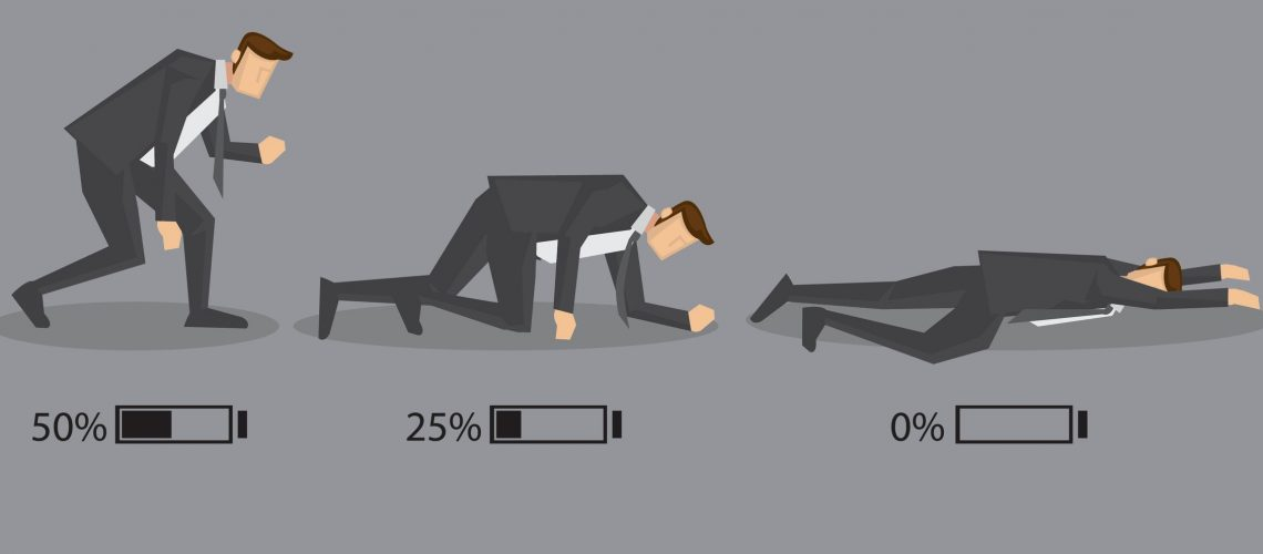 Series of a business executive in suit with battery indicator to show his energy level, from fully charged to drained and exhausted. Conceptual vector cartoon illustration isolated on grey background.