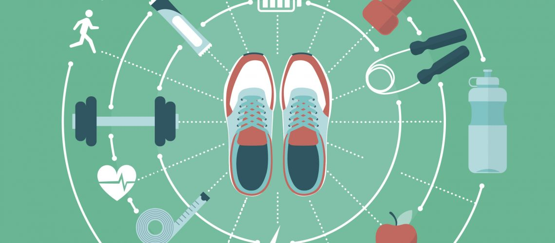 Fitness; sports and healthy lifestyle concept: training shoes and sports equipment connecting together